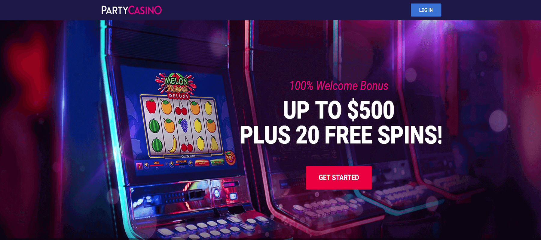 Party Casino Screenshot with 100% Welcome Bonus up to $500 Plus 20 Free Spins